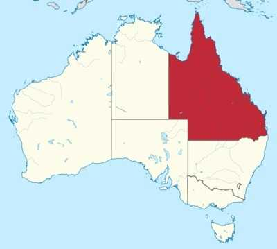 map of Queensland Australia relating to the Code of Practice for bearded dragon owners