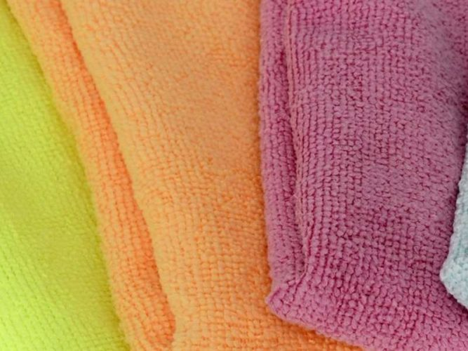microfiber cloths do a great job cleaning solid surfaces